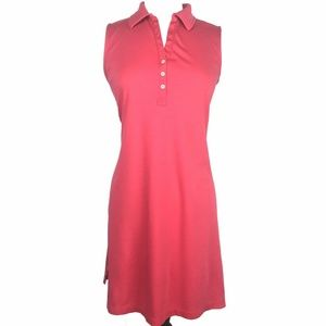 Lands End Sleeveless Polo Dress Coral Large FLAW
